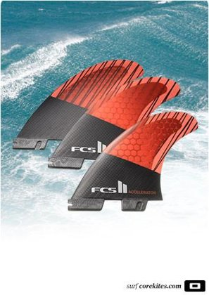 FCS2 Fin Tri Set - Accelerator PC Carbon, L